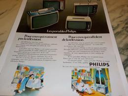 ANCIENNE PUBLICITE POUR CEUX QUI N AIMENT  PAS LA TV  PHILIPS 1972 - Televisione