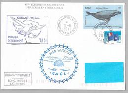 0 - TAAF 495 Et 587 Baleine à Bosse Du 21.6.2011 TERRE ADELIE Sur Pli Gérant Postal Signé Et MIDWINTER TA 61 - Cartas