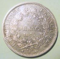France - 5 Francs Hercule 1875A Paris Argent Pièce De Monnaie Superbe - J. 5 Franchi