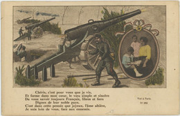 MILITARIA Guerre 1914/1918 Canon De 75 Soldat Défendant Sa Famille - Guerra 1914-18
