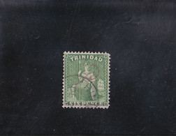 TRINITé BRITANNIA 6 P VERT PAPIER éPAIS GLACé OBLITéRé N° 19 YVERT ET TELLIER 1860-63 - Trinidad & Tobago (...-1961)