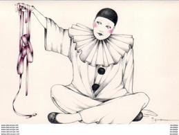 JOYCE PANOS  1981  PIERROT  ..  LOT DE 3 CPSM PLIANTES AVEC VOLET POUR ECRIRE - Autres Illustrateurs