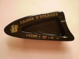 CREST, Drôme Cendrier Vintage De La Caisse D'Epargne Noir & Doré - Ashtrays