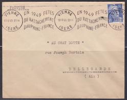 Lettre De Vienne 1949 , Fêtes Du Rattachement Dauphiné-France (ref L A74) - Annullamenti Meccaniche (Varie)