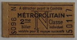 PARIS METROPOLITAIN Ticket 2e Classe S 096 Tarif N 1948 Non Poinçonné EXCELLENT ETAT Pub CATOX Lessive Savon - Europa
