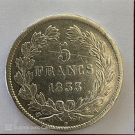 LOUIS PHILIPPE  I  5 FRANCS 1933 M ( ARGENT ) - J. 5 Franchi