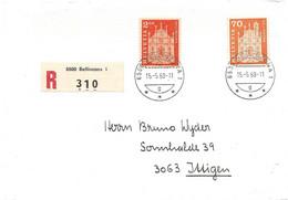 """215 - 5 - Enveloppe  Recommandée Avec Timbres """"Bellinzona"""" Et Cachet à Date Bellinzona 1968 - Covers & Documents"""