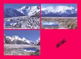 KYRGYZSTAN 2020 Mountain Mountains Seven-Thousanders Mi KEP148-150 3 Maxicards Maxicard Maximum Card Cards - Kyrgyzstan