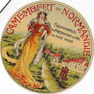 ETIQUETTE DE FROMAGE    NEUVE   CAMEMBERT DE NORMANDIE FROMAGERIE DE PRESSAGNY LE VAL PAR PORT MORT IMPR GRANGE - Cheese