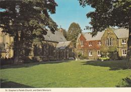 Postcard St Stephens Parish Church [ Skipton ? ] & Yellow Austin Mini On Right My Ref B24719 - Other