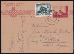 Croatia, 1944, 2 Kn Postcard Uprated By 1 Kn, From Metković To Sinj - Kroatien
