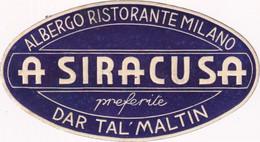 Albergo Ristorante Milano A Siracusa Dar Tal'Maltin - & Hotel Label - Etiquetas De Hotel