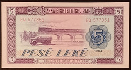 N2u.01.3 - Albania 1964 5 Leke Banknote P-35a UNC - Albania