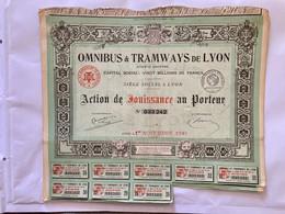 OMNIBUS   &  TRAMWAYS  De  LYON  --------- Action  De. Jouissance - Bahnwesen & Tramways