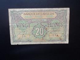 ALGÉRIE : COLONIE FRANÇAISE : 20 FRANCS   4-6-1948    MetK 11 * / P 103   TB+ ** - Algeria