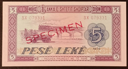 N2u.01.3 - Albania 1976 5 Leke Banknote SPECIMEN UNC - Albania