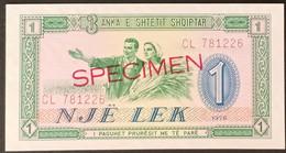 N2u.01.3 - Albania 1976 1 Leke Banknote SPECIMEN UNC - Albania