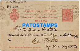 156916 SPAIN ESPAÑA MADRID YEAR 1913 CIRCULATED TO ARGENTINA BREAK POSTAL STATIONERY POSTCARD - Unclassified
