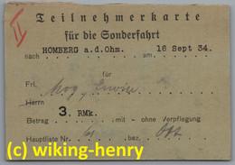 Teilnehmerkarte Für Die Sonderfahrt Nach Homberg An Der Ohm Am 16. September 1934 - Other