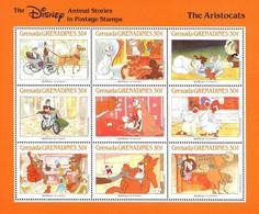 MWD-BK3-188-1+190-2 MINT PF/MNH ¤ GRENADA GRENADINES 1988 VEL+BLOCK ¤ THE WORLD OF WALT DISNEY  - THE ARISTOCATS - Disney