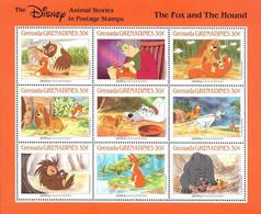 MWD-BK3-188-2+190-3 MINT PF/MNH ¤ GRENADA GRENADINES 1988 VEL+BLOCK ¤ THE WORLD OF WALT DISNEY  - THE FOX AND THE HOUND - Disney