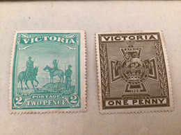 AUSTRALIA VICTORIA 1900 BOER WAR PATRIOTIC FUND Tow Pence, One Penny - Neufs