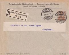 SUISSE   1910  ENTIER POSTAL/GANZSACHE/POSTAL STATIONARY LETTRE RECOMMANDEE  TSC DE BERN AVEC CACHET ARRIVEE CORGEMONT - Postwaardestukken