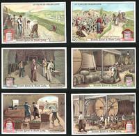 6 Sammelbilder Liebig, Serie Nr. 1062: Au Pays Du Champagne, Kelterei, Fässer, Flaschen, Handwerk, Wein, Ernte - Liebig