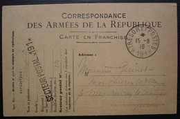 Trésor Et Postes 191 1916 Carte Des Armées De La République Pour Montmirey La Ville Jura - Oorlog 1914-18