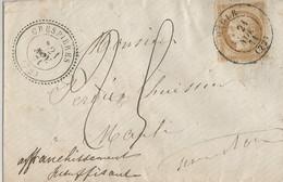 Lettre Départ De Maule -  Taxée  Pour  Affranchissement Insuffisant (surcharge Manuscrite) - 25 - 1849-1876: Klassieke Periode