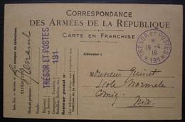 Trésor Et Postes 191 Cachets Violet 1916 Carte Des Armées De La République Pour Nice - Oorlog 1914-18