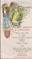 MENU -  MENU ANGEVIN De CURNONSKY ( 12.9 X 16.7  Cm.) - Menükarten