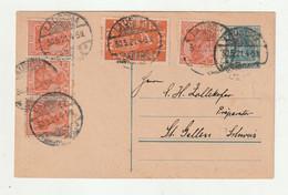 """[1263A] Deutsches Reich - 1921 - Postkarte """"Germania"""" Mit Zusatzfrankatur Ex """"LAUSCHA"""" - Postwaardestukken"""