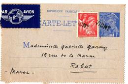 CARTE LETTRE POUR RABAT . 1941 . 1 F IRIS + COMPL . PAR AVION - Cartoline-lettere