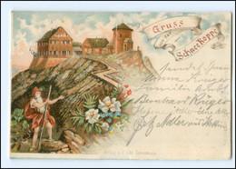 U7649/ Riesengebirge  Gruß Von Der Schneekoppe Rübezahl Litho Ak 1897 - Schlesien
