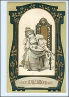 U7675/ Schöne Jugendstil Litho Prägedruck AK Christmas 1918 Frau Mit Laute  - Unclassified