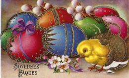 Joyeuses Pâques. Carte En Relief - Oeufs, Fleurs, Poussin, Gel Et Dorures.... 2 Scans. - Ostern