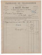 75 - PARIS 13 - FACTURE  1909 - FABRIQUE DE CHAUSSURES - CAILLET, FILS AINÉ - 77 BD BLANQUI, 12 RUE BARRAULT - District 13