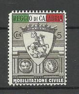 ITALY Ca 1914-1915 WWI Mobilitazione Civile Reggio Di Calabria Patriotic Vignette MNH - Otros