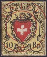 SUISSE, 1850, Postes Fédérales, Rayon 2 Croix Non Encadrée, Timbre Faux (Yvert 15) - 1843-1852 Federale & Kantonnale Postzegels