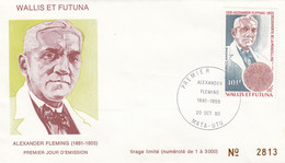 WALLIS ET FUTUNA -FDC ALEXANDER FLEMING  - Yv PA N° 105 -CACHET PREMIER JOUR MATA-UTU 20.10.1980 /2 - Covers & Documents