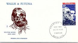 WALLIS ET FUTUNA -FDC VICTOR HUGO - Yv N° 329 -CACHET PREMIER JOUR MATA-UTU 7.3.1985 /2 - Covers & Documents