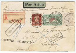 207 + 255 Sur COURRIER ACCIDENTE Recommandé De MONTLHERY Du 10/12/1929 Pour SAÏGON Accident à SYRTE Le 16/12 - Air Post