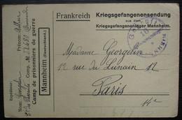 Mannheim Camp De Prisonniers 1918 Carte De Georgelin Arthur Cie Des Passants N° 32680 Brancardier, Pour  Paris - Oorlog 1914-18