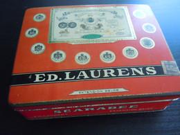 Scarabee Ed. Laurens Extension Belge Boîte En Metal Pour 100 Cigarettes Blikken Doos Voor Sigaretten 14,5 X 11,7 X 4 Cm - Non Classés