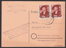 Albrcht Dürer Gemälde 5 Pf.(2), DDR 504, Portogenau, Karte Aus Schwarzenberg - Storia Postale