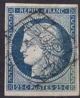 1850 FRANCE N° 4  Obl (pli) - 1849-1850 Ceres