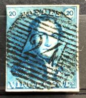 België, 1849, Epauletten, Nr 2, Stempel P24, OBP 65€ - 1849 Schulterklappen
