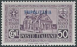 1931 TRIPOLITANIA S. ANTONIO 50 CENT MH * - RE12-2 - Tripolitania