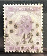 België, 1865, Leopold I, Nr 21B, Londense Druk, OBP 125€, Mooie Centrage! - 1865-1866 Linksprofil